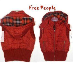 Free People Puffer Fleece Lined Hooded Vest S/P
